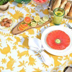 Stenciled Tablecloth using Cutting Edge Stencils DIY Otomi Stencil patterns