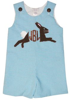 We are thrilled with how our new monogrammed, personalized bunny rabbit outfit for boys turned out! We drew/designed the bunny applique and had