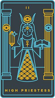 The meaning of The High Priestess from the Universal Waite Tarot deck: Get your self out of the way and become attuned to a more spiritual view. Tarot Card Decks, Tarot Cards, Golden Thread Tarot, Tarot Major Arcana, Oracle Tarot, Tarot Card Meanings, Diane, Deck Of Cards, View Source