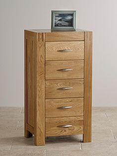 Alto Natural Solid Oak 5 Drawer Tall Chest
