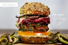 """The Kaleesi Burger from PornBurger A berberre-rubbed kale burger topped with shiitake """"bacon"""", Red Dragon cheese, heirloom tomato, beet gratin, and sumac aioli."""