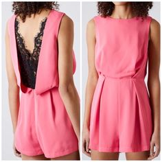 Top Shop Pink Romper with Lace Back Size 6 Like new! Original price was $98 + tax. Great romper for a night out. Topshop Dresses
