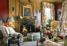 Beautiful English country sitting room designed by Mario Buatta.