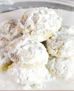 "Snowball cookies are the perfect ""Cookie exchange"" cookie. They are light and each one of these have mini chocolate chips to add some chocolate flavor! Holiday Cookies, Holiday Treats, Holiday Recipes, Köstliche Desserts, Delicious Desserts, Dessert Recipes, Holiday Baking, Christmas Baking, Christmas Holiday"