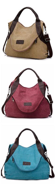 $32.32 Women Canvas Casual Large Pocket Handbag, Leather Handle Shoulder Bag, Crossbody Bag
