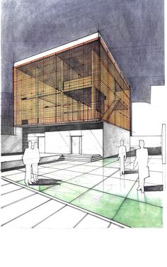 Sculptor's House/Studio.The massive windows on both sides are covered with a Cor-ten mesh. The mesh and various elements might look quite laborious to draw, but in fact are fairly simple and repetitive - they just take a while getting used to. 12 Hours Completion Time #architecture #architect #rendering