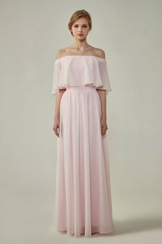 e639a772b691 Bohemian Style Off Shoulder Chiffon Bridesmaid Dress