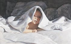 Artifacts Gallery - Undercover.  Watercolour by Steve Hanks. Steve Hanks is recognized as one of the best watercolor artists working today. The detail, color and realism of Steve Hanks' paintings are unheard of in this difficult medium. A softly worn patterned quilt, the play of light on the thin veil of surf on sand, or the delicate expression of a child—-Steve Hanks captures these patterns of life better than anyone.