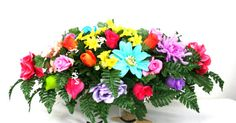 Father's Day Multi Color Silk Flower Cemetery by Crazyboutdeco