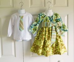 Matching Outfits Brother Sister Siblings - Girls Bell Sleeve Peasant Dress and Boys Tie Bodysuit Tshirt - Teal/Olive Belle Collection