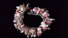 Vintage Silver and Pink Bead Charm Bracelet by VintageJewelrySpot, $10.00