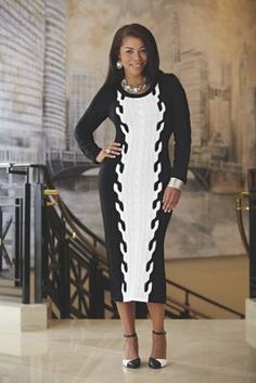 "ASHRO Claire Sweater Dress $119.95 - $129.95 Beautifully textured cable knit sweater dress accentuates curves. Ribbed neckline. 46"" l. Acrylic; machine wash. Imported. Available only in Black/Winter White."