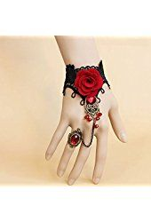 ArRord Beautiful Bead Handmade Retro Black Lace Vampire Slave Bracelet With Flower And Red Resin Gothic