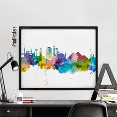 Cairo skyline art print Watercolour poster wall by iPrintPosters