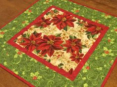 Christmas Decor, Poinsettia Table Topper, Quilted Christmas Table Topper, Red and Green Table Topper Christmas Runner, Christmas Poinsettia, Etsy Christmas, Christmas Items, Christmas Decorations, Christmas Quilting, Christmas Projects, Table Runner And Placemats, Table Runner Pattern