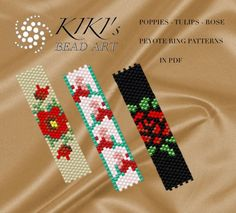 These are own designed patterns for peyote rings using even single drop peyote. These patterns are for Miyuki delica size 11 round beads in PDF format, downloadable directly from ETSY.  These rings are for single drop even peyote. The PDF files include: 1. Large detailed pattern preview