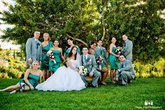Cool bridal party dressed in green at winery wedding #weddingphotography / follow @TruePhotography