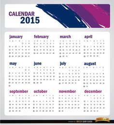 Simple and artistic calendar for 2015 year. It has a header with brushstrokes of blue, purple, and pink colors, and also the names of months are in these colors over a sober white background. We wish you great New Year! High quality JPG included. Under Commons 4.0. Attribution License.
