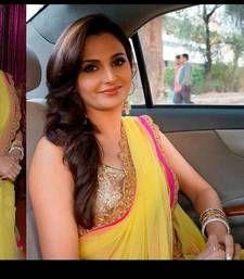 Buy yellow plain chiffon saree with blouse bollywood-saree online