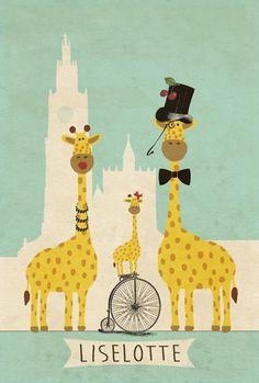 Geboortekaartje Liselotte - voorkant - Pimpelpluis - https://www.facebook.com/pages/Pimpelpluis/188675421305550?ref=hl (# vintage - retro - giraf - fiets - Onze Lieve Vrouwekathedraal Antwerpen - familie - hoed - strikje - origineel)