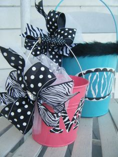 bitty buckets.....handpainted monogrammed and personalized easter bucket and basket....love those zebra stripes... $14.95, via Etsy.