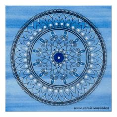 Shop Hand Drawn Pretty Blue And White Mandala Flower Dinner Plate created by zedart. Kitchen Hand Towels, Paint Background, Flower Plates, Flower Mandala, Decorative Throw Pillows, Hand Drawn, How To Draw Hands, Poster Prints, Blue And White