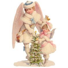 Large Scrap with Two Snow Angels ~ Germany ~ New for 2014