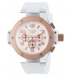 Rose gold-tone watch in stainless steel with checkerboard dial, exposed screws on bezel, and white silicone band Swiss quartz movement with analog display Protective mineral crystal dial window Cool Watches, Rolex Watches, Wrist Watches, Pocket Watches, Diva Fashion, Mens Fashion, Gift Store, Diamond Are A Girls Best Friend, Women Brands