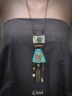 Statement Tribal Necklace Rustic Long Necklace ethnic Boho Necklace Gift for Her. Statement Tribal Necklace Rustic Long Necklace ethnic Boho Necklace Gift for Her Rustic Tribal Pend Bohemian Jewelry, Jewelry Art, Women Jewelry, Jewelry Design, Ethnic Jewelry, Punk Jewelry, Western Jewelry, Pendant Jewelry, Jewelry Necklaces