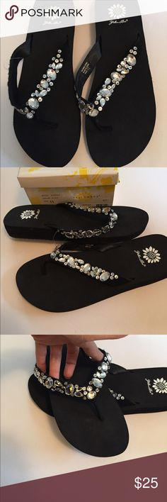 """NWT jeweled black flip flops Brand new in box """"yellow box"""" jeweled black flip flops. Size 11 Yellow Box Shoes Sandals"""
