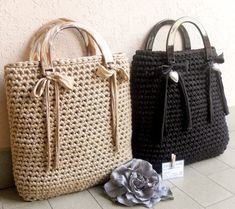 crochet bags with ribbon.