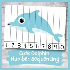 Cute Dolphin Number Sequencing Puzzle (Math Printable for Kids) - Nurtured Neurons