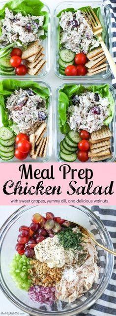 Meal Prep Chicken Salad- soooooo good! Healthy Meal Prep Lunches, Work Lunches, Meal Prep Salads, Meal Prep Containers, School Lunches, Meal Prep Bowls, Lunch Meal Prep, Prepped Lunches, Lunch Snacks