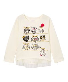 Another great find on #zulily! Kidtopia Ivory Owl Mesh Top - Toddler & Girls by Kidtopia #zulilyfinds