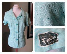 Vintage Aqua Linen Blouse with Deco by VioletsEmporium Thing 1, Swirl Pattern, Linen Blouse, Aqua Blue, Swirls, 1950s, Art Deco, T Shirts For Women, Patterns