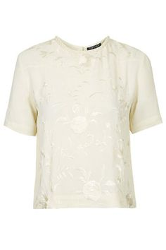Plaited Neck Embroidered Top