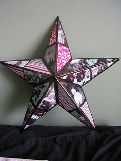 DIY photo star, awesome gift Idea!!  Great for the kids room walls too, all their family and friends. Retirement, going away, sports photos, etc.