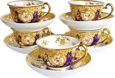 Antique Coalport Cups & Saucers, S/5