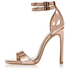 River Island Rose gold barely there heeled sandals ($100) ❤ liked on Polyvore featuring shoes, sandals, heels, chaussures, yellow, metallic heel sandals, ankle strap sandals, high heel shoes, yellow high heel sandals and ankle strap heel sandals