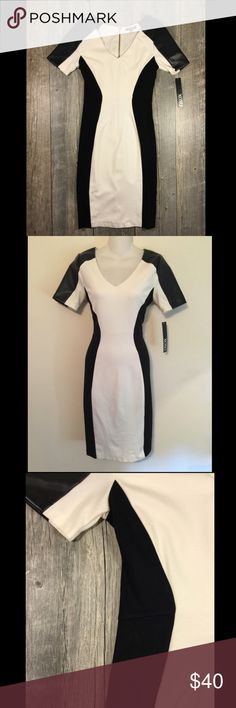 NWT white and black faux leather midi dress NWT white and black faux leather midi dress. Exposed zipper in back. Faux leather shoulders. Black silhouette. 40 inches long. Rayon nylon 5% spandex. Tag reads 5/6 XOXO Dresses Midi