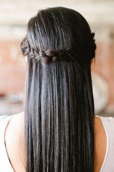 wrap around braid, half-up hairstyle