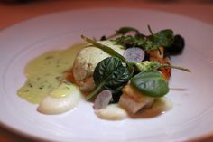 Turbot with escargot, garlic scape, portato puree, sauce chivy