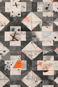 Amanda Ross-Ho - TIME WAITS FOR NO ONE - The Approach - Dropcloth Quilt detail