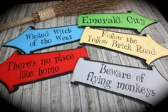 WIZARD of OZ Whimsical Party signs by kutekardz on Etsy. Wizard Of Oz Decor, Wicked, Relay For Life, Yellow Brick Road, Trunk Or Treat, School Themes, Girls Camp, Emerald City, Party Signs