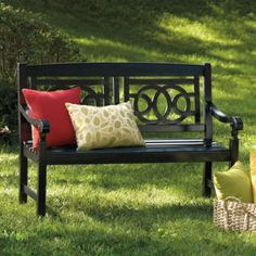 Front porch inspiration - paint our wood chairs black!!!!
