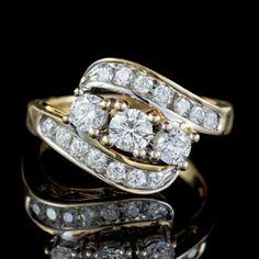 DIAMOND TRILOGY TWIST RING 14CT GOLD 1.40CT OF DIAMOND front Antique Diamond Rings, Antique Engagement Rings, Twist Ring, Free Ring, Perfect Engagement Ring, Fashion Rings, Diamond Cuts, Antique Jewelry, Heart Ring