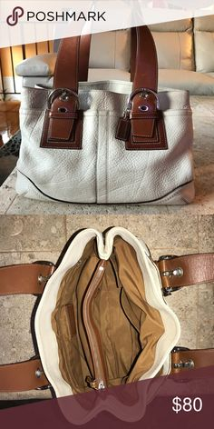 COACH Shoulder/Satchel Bag! COACH white soft milled cowhide leather bag. Spacious and gorgeous! Great condition! Coach Bags Satchels