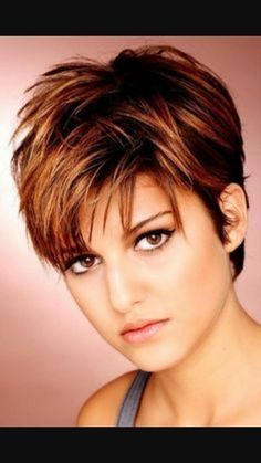 Short hair with red highlights More