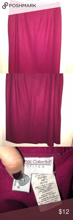 Wool skirt Knee length wool skirt, burgundy/fuchsia color Skirts Midi