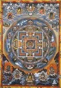 Buddhist mandalas employ sacred geometry to create representations of the universe used for meditation and mindfulness training. - Buddhist Mandalas - Buddhism at BellaOnline Tibetan Mandala, Tibetan Art, Tibetan Buddhism, Buddhist Art, Buddhist Symbols, Mandala Art, Mandala Painting, Tantra, Sacred Geometry